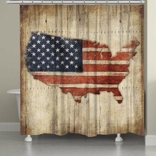 Laural Home Vintage American Flag Shower Curtain