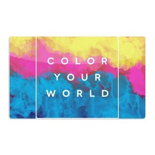 KESS InHouse Galaxy Eyes 'Color Your World' Rainbow Paint Artistic Aluminum Magnet