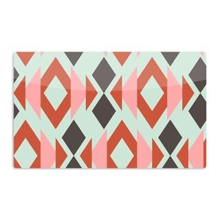 KESS InHouse Pellerina Design 'Coral Mint Triangle Weave' Orange Teal Artistic Aluminum Magnet