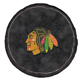 The Northwest Company NHL 199 Blackhawks Black Polyester Round Plush Pillow