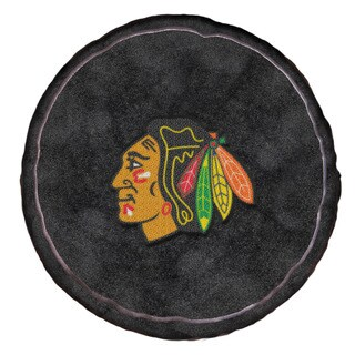 The Northwest Company NHL 199 Blackhawks Black Polyester Round Plush Pillow