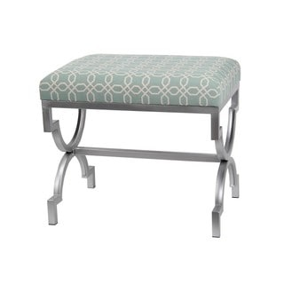 Privilege Blue Upholstered Bench with Iron Base