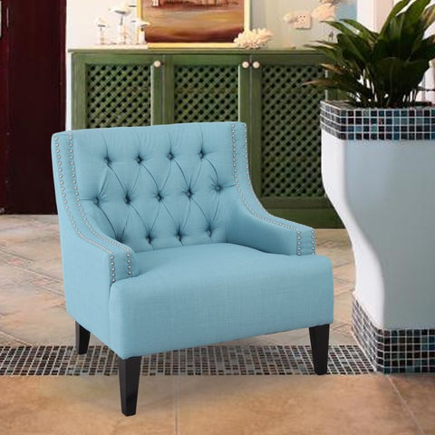 Adeco Tufted Upholstery Living Room Accent Chair With Nailhead Trim