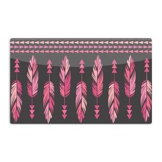 KESS InHouse Amanda Lane 'Painted Feathers Gray' Pink Dark Artistic Aluminum Magnet