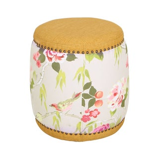 Flower Pattern Adeco Fabric Drum Ottoman/Footstool