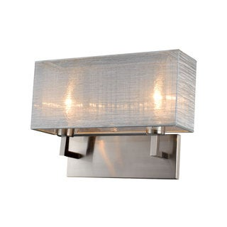 Prescott Brushed Silver Metal/Fabric Double Wall Sconce