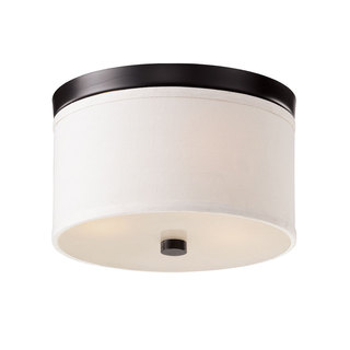 Braxton White/Black Glass and Metal 10-inch Round Flush Mount