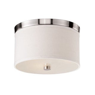 Bromi Design Braxton White/Nickel Metal/Glass/Fabric 10-inch Round Flush Mount