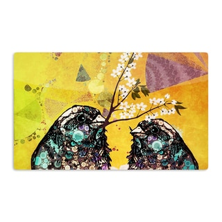KESS InHouse alyZen Moonshadow 'Birds In Love Yellow' Orange Gold Artistic Aluminum Magnet