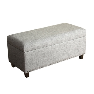 HomePop Lauren Marbled Grey Storage Bench