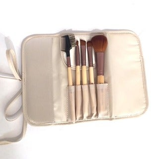 Bamboo Roll-up 5-piece Makeup Brush Set with Case