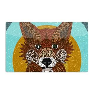 KESS InHouse Art Love Passion 'Colored Fox' Blue Orange Artistic Aluminum Magnet