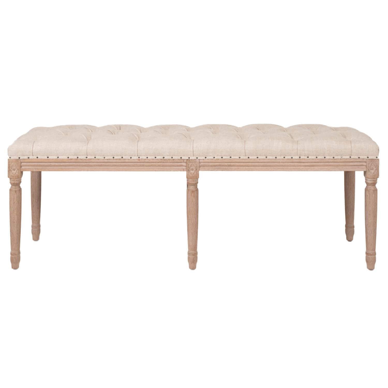 Baxton Studio Clairette Beige Linen French Style Natural Oak Wood Bench