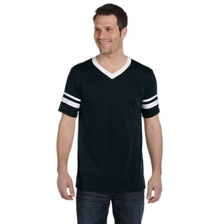 Men's Black and White Polyester Striped Sleeve T-shirt