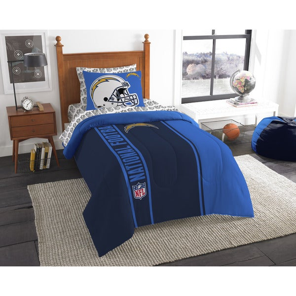 The Northwest Company NFL Los Angeles Chargers Twin 5-piece Bed in a Bag with Sheet Set