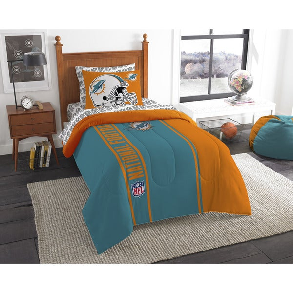 The Northwest Company NFL Miami Dolphins Twin 5-piece Bed in a Bag with Sheet Set