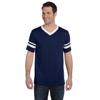 Men's Navy and White Polyester Striped Sleeve T-shirt