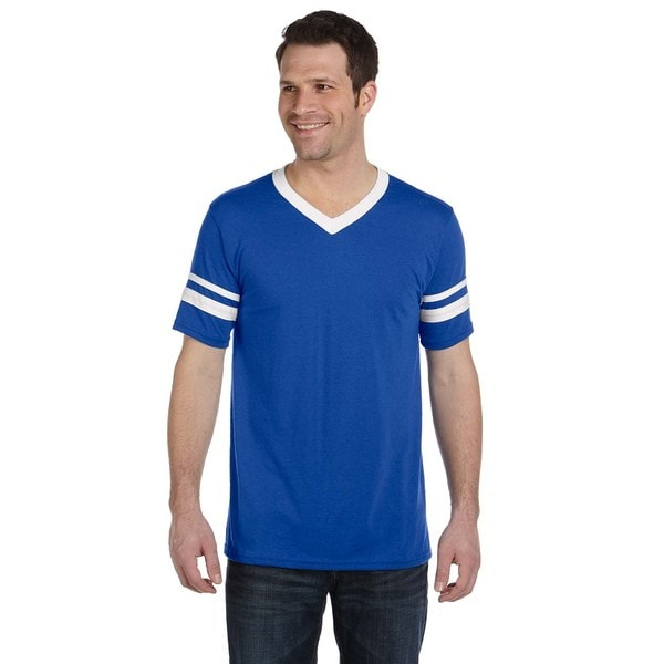Mens Royal and White Striped-sleeve T-shirt