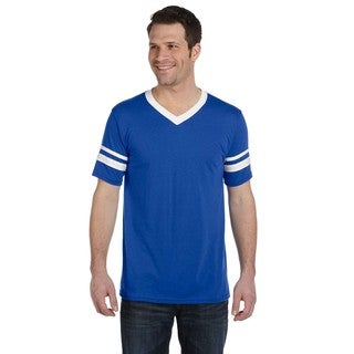 Men's Royal and White Striped-sleeve T-shirt