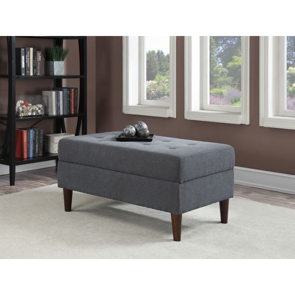 AC Pacific Tufted Button Large, Slate Blue Storage Ottoma...