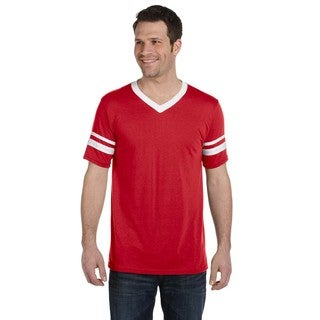 Men's Red and White Polyester Striped-sleeve Jersey