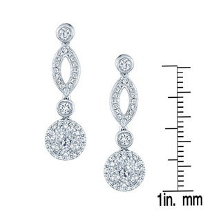 14k White Gold 2/3ct TDW Diamond Marquise Link Earrings