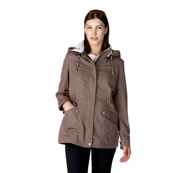 Poplin Women's Anorak Blue, Grey Cotton, Polyester Water Repellent Jacket
