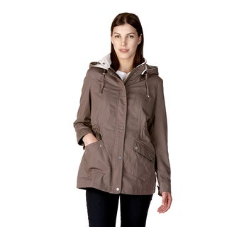 Poplin Women's Anorak Blue, Grey Cotton, Polyester Water Repellent Jacket