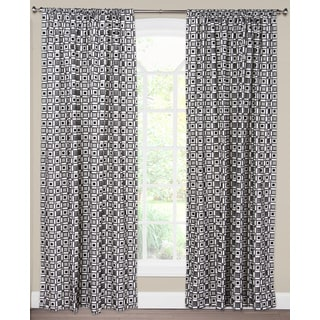 SIScovers Square Root White/Black Cotton/Nylon Blend Curtain Panel