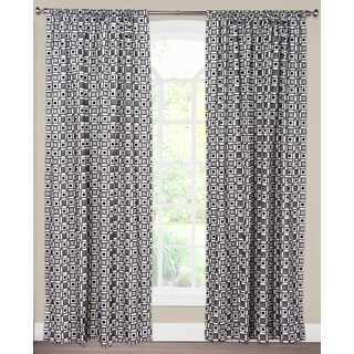 SIScovers Square Root White/Black Cotton/Nylon Blend Curtain Panel