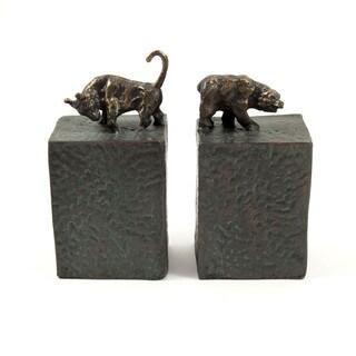 Bey Berk Wall Street Metal Cast Bull and Bear Bookends