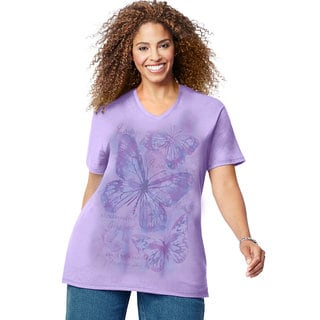 Just My Size Women's Multicolored Cotton Blend Short-sleeve V-neck Graphic T-shirt