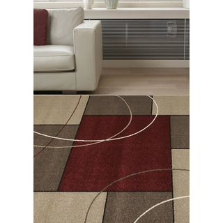 "Confort Red/Beige Polypropylene Familiar Rug (6'7 x 9'6) - 6'7"" x 9'6"""