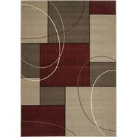 Confort Red/Beige Polypropylene Familiar Rug (6'7 x 9'6)
