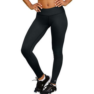 Champion Women's Absolute Black/Grey Cotton/Polyester/Spandex Tights with SmoothTec Band