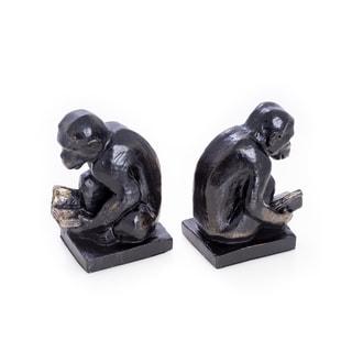 Bey Berk Reading Monkey Bronze Cast Metal Bookends