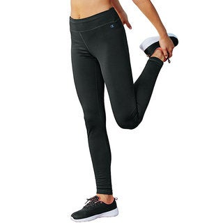 Champion Women's Tech Black/Grey Polyester/Spandex Fleece Tights