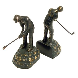 Bey Berk Swinging Golfer Bronze Cast Metal Bookends