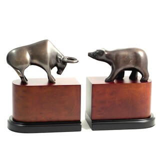 Wall Street Bronze/Wood Bull vs. Bear Bookends
