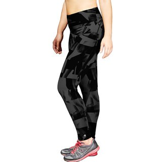 Champion Women's Absolute Black/Grey Polyester/Spandex Plus Printed Tights With SmoothTec Band
