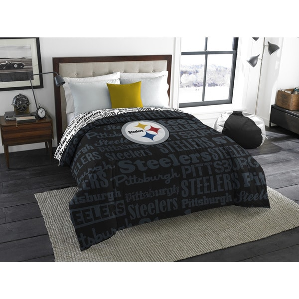 Shop the northwest company official nfl pittsburgh steelers anthem full comforter free for Pittsburgh steelers bedroom slippers