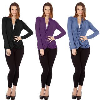Dinamit Women's Multicolor Cris Cross Draped Sweaters (Pack of 3)|https://ak1.ostkcdn.com/images/products/12114754/P18975515.jpg?impolicy=medium