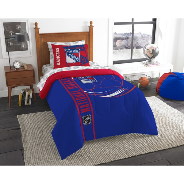 The Northwest Company NHL New York Rangers Twin 5-piece Bed in a Bag with Sheet Set