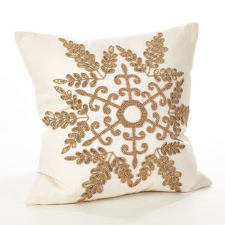 Cristabel Collection Christmas Beaded Snowflake Design Down Filled Cotton Throw Pillow