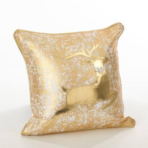Donnelou Collection Metallic Reindeer Design Down Filled Cottong Throw Pillow