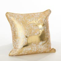 Donnelou Collection Metallic Reindeer Design Down Filled Cottong Throw Pillow