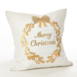 Donnelou Collection Merry Christmas Embroidered Down Filled Cotton Throw Pillow