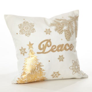 Donnelou Collection Peace Embroidered Design Down Filled Cotton Throw Pillow