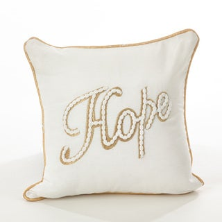 Donnelou Collection Hope Embroidered Design Down Filled Cotton Throw Pillow