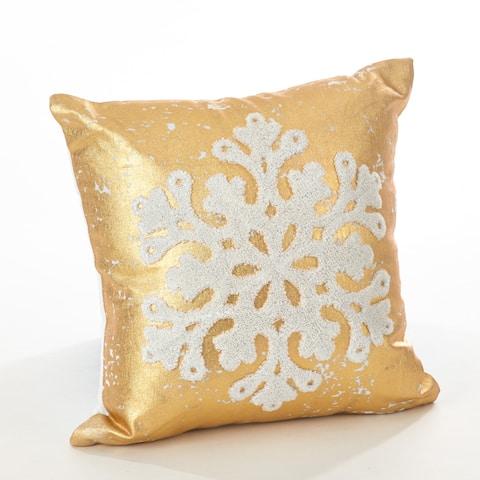 Donnelou Collection Snowflake Design Down Filled Cotton Throw Pillow